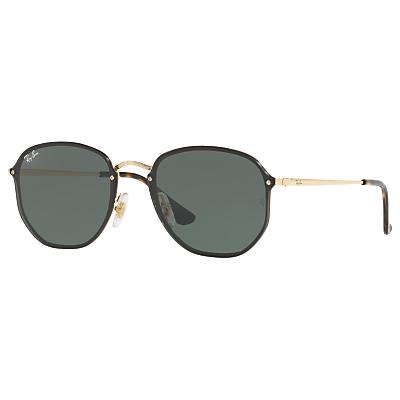 Ray-Ban RB3579N Blaze Hexagonal Sunglasses, Gold/Green