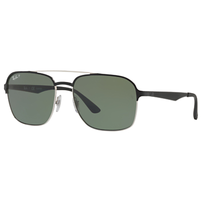 Ray-Ban RB3570 Polarised Square Sunglasses, Black/Grey