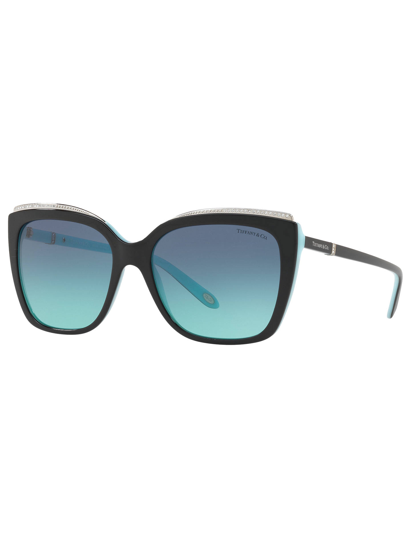 Buy Tiffany & Co TF4135B Oversize Square Sunglasses, Black/Blue Gradient Online at johnlewis.com