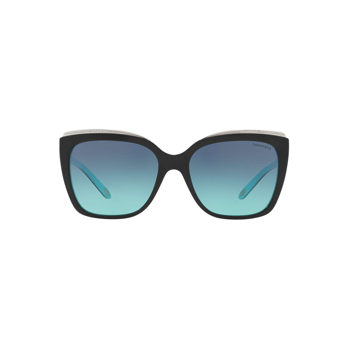 BuyTiffany & Co TF4135B Oversize Square Sunglasses, Black/Blue Gradient Online at johnlewis.com