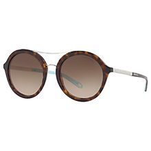 Buy Tiffany & Co TF4136B Round Sunglasses, Tortoise/Brown Gradient Online at johnlewis.com
