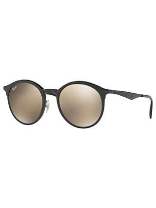 Ray-Ban RB4277 New Emma Oval Sunglasses, Black/Mirror Brown