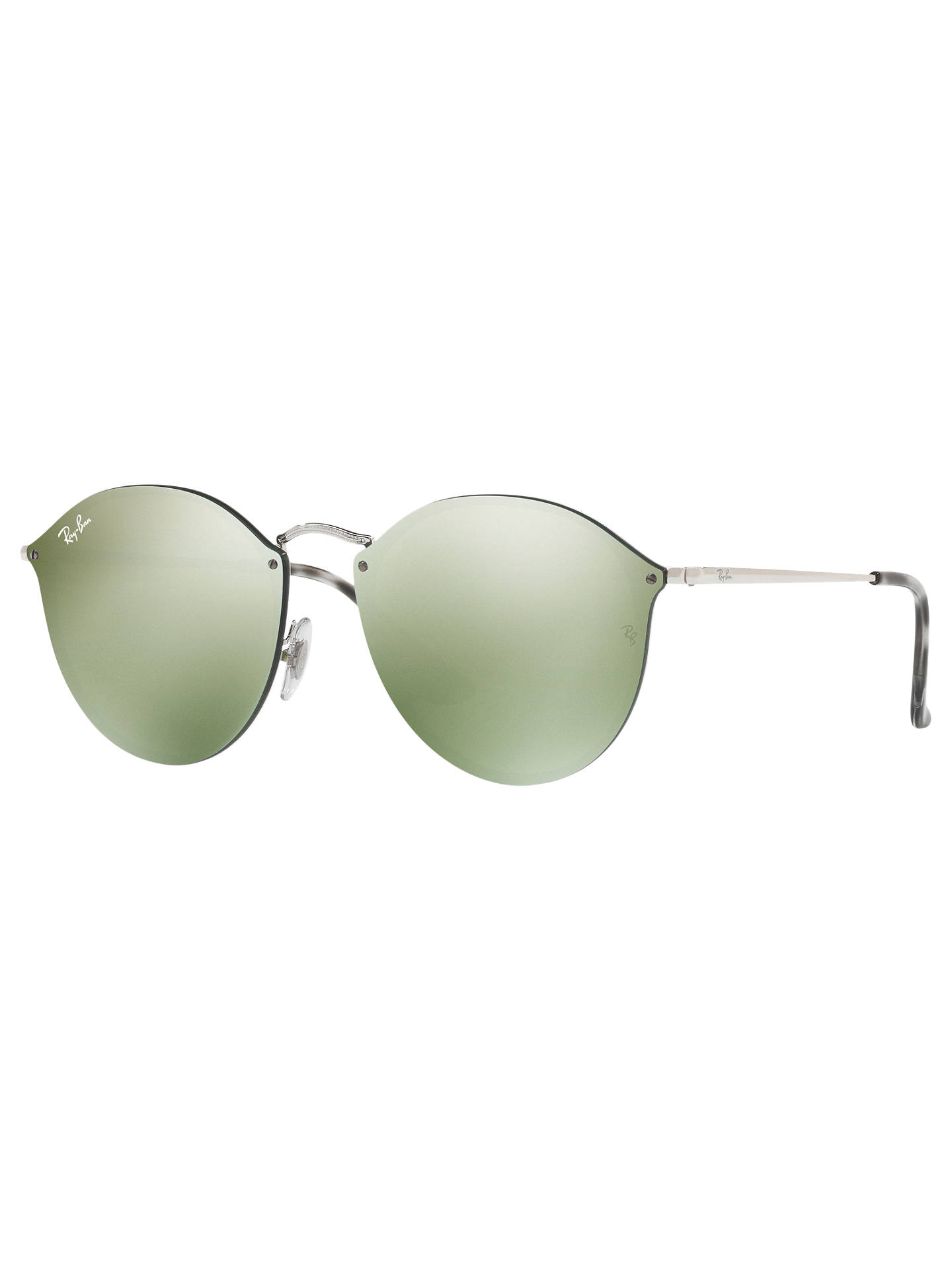 Buy Ray-Ban RB3574N Unisex Round Sunglasses, Silver/Mirror Green Online at johnlewis.com