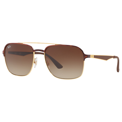 Ray-Ban RB3570 Square Sunglasses, Tortoise/Brown Gradient
