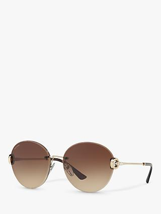 BVLGARI BV6091B Round Sunglasses, Rose Gold/Brown Gradient
