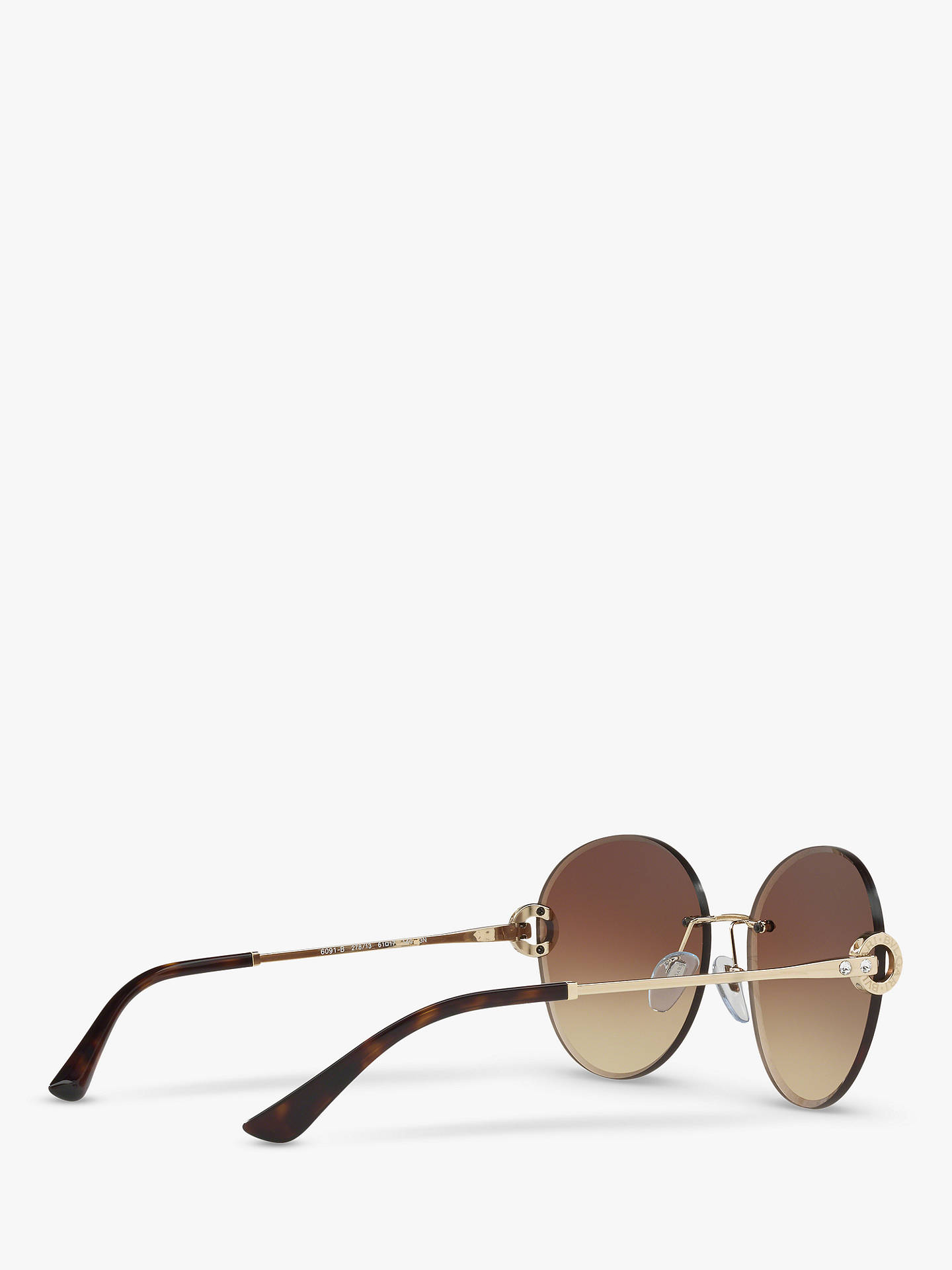 5f3e9a4c981114 ... BuyBVLGARI BV6091B Round Sunglasses, Rose Gold Brown Gradient Online at  johnlewis.com ...