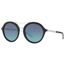 Buy Tiffany & Co TF4136B Round Sunglasses, Black/Mirror Blue Online at johnlewis.com