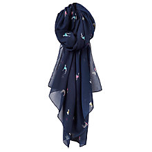 Buy Joules Wensley Dog Print Scarf, Navy Online at johnlewis.com
