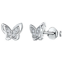 Buy Jools by Jenny Brown Cubic Zirconia Butterfly Stud Earrings, Silver Online at johnlewis.com