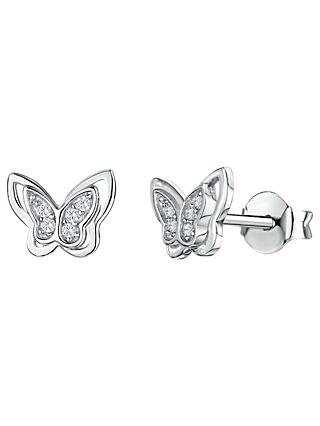 Jools by Jenny Brown Cubic Zirconia Butterfly Stud Earrings, Silver