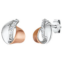 Buy Jools by Jenny Brown Cubic Zirconia Two Toned Rollover Stud Earrings, Silver/Rose Gold Online at johnlewis.com
