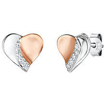 Buy Jools by Jenny Brown Cubic Zirconia Two Toned Valentine Stud Earrings, Silver/Rose Gold Online at johnlewis.com