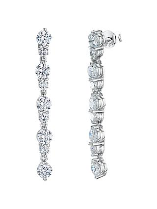 Jools by Jenny Brown Cubic Zirconia Long Drop Earrings, Silver