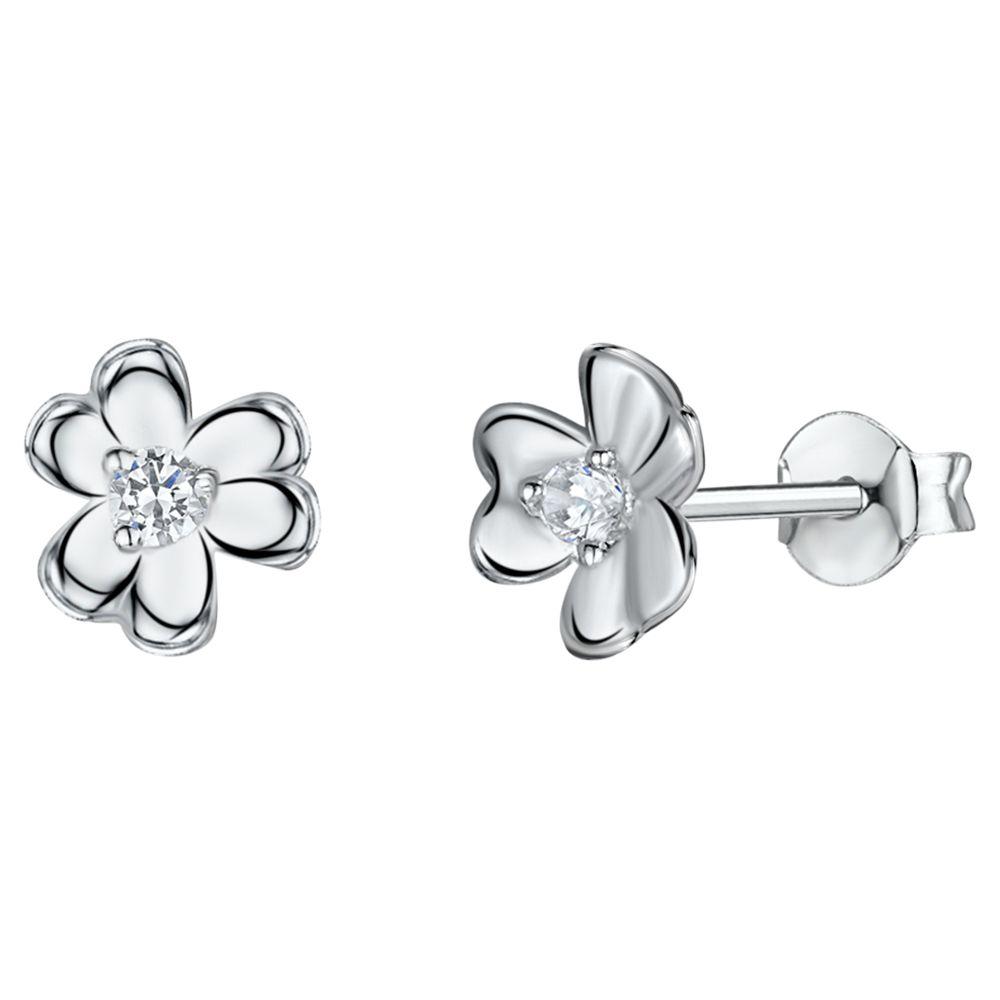 Jools by Jenny Brown Jools by Jenny Brown Cubic Zirconia Clover Stud Earrings, Silver