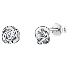 Buy Jools by Jenny Brown Cubic Zirconia Cross Link Stud Earrings, Silver Online at johnlewis.com