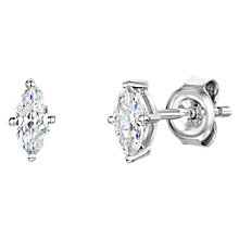 Buy Jools by Jenny Brown Cubic Zirconia Oval Stud Earrings, Silver Online at johnlewis.com