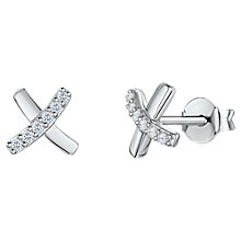 Buy Jools by Jenny Brown Cubic Zirconia Contrast Cross Stud Earrings, Silver Online at johnlewis.com