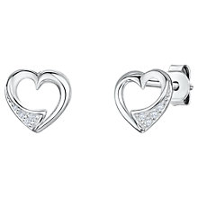 Buy Jools by Jenny Brown Cubic Zirconia Hollow Heart Stud Earrings, Silver Online at johnlewis.com