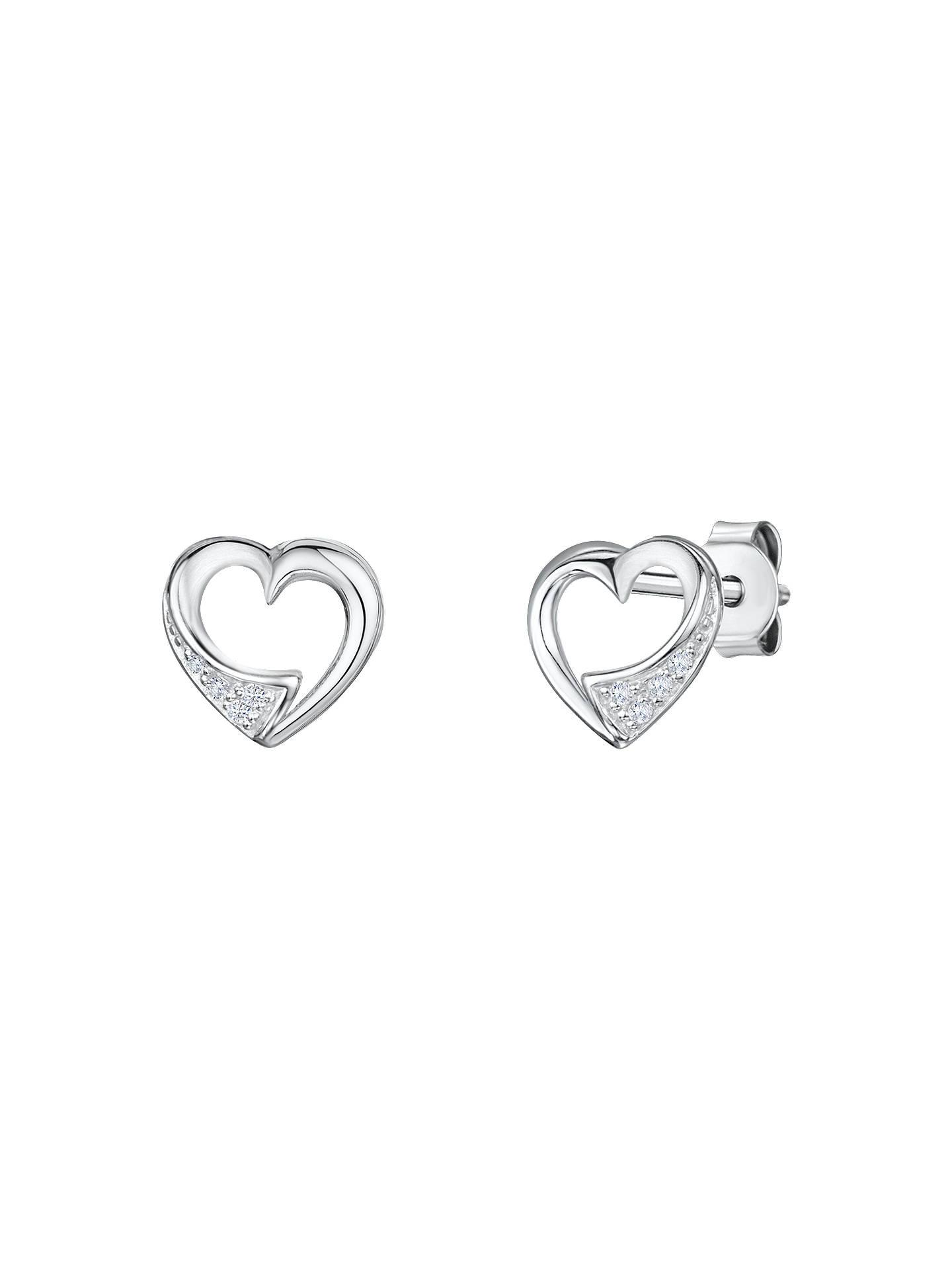 2dbcfdbec Buy Jools by Jenny Brown Cubic Zirconia Hollow Heart Stud Earrings, Silver  Online at johnlewis