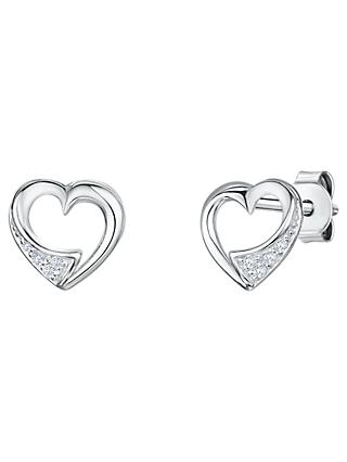 Jools by Jenny Brown Cubic Zirconia Hollow Heart Stud Earrings, Silver