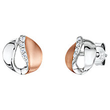 Buy Jools by Jenny Brown Cubic Zirconia Two Toned Stud Earrings, Silver/Rose Gold Online at johnlewis.com