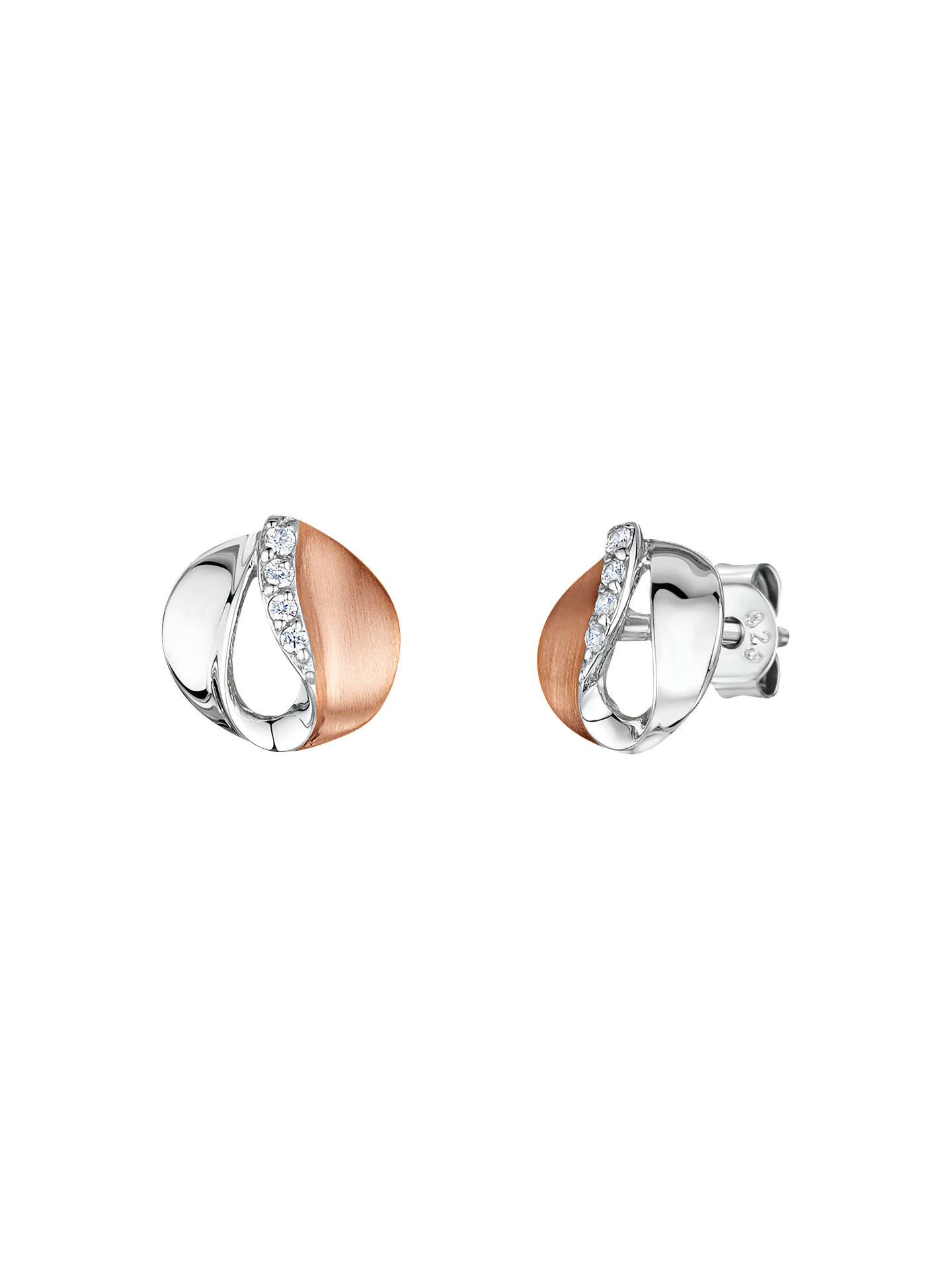 BuyJools by Jenny Brown Cubic Zirconia Two Toned Stud Earrings, Silver/Rose Gold Online