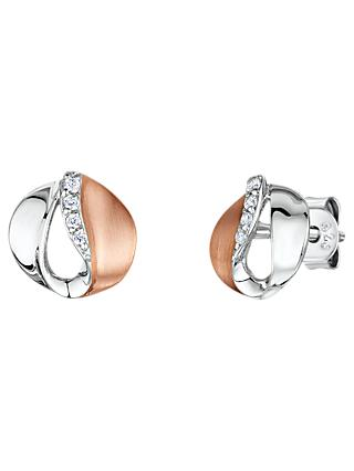 Jools by Jenny Brown Cubic Zirconia Two Toned Stud Earrings, Silver/Rose Gold