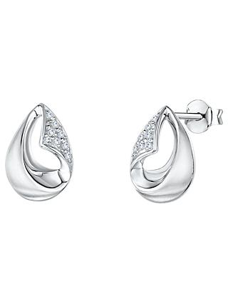 Jools by Jenny Brown Cubic Zirconia Hollow Teardrop Stud Earrings, Silver