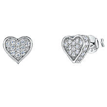 Buy Jools by Jenny Brown Cubic Zirconia Heart Stud Earrings, Silver Online at johnlewis.com