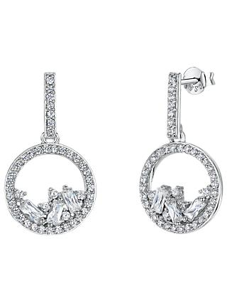 Jools by Jenny Brown Cubic Zirconia Gathered Gems Drop Earrings, Silver