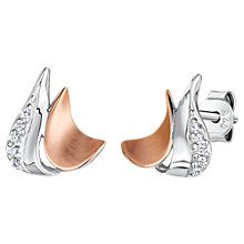 Buy Jools by Jenny Brown Cubic Zirconia Two Toned Melting Moon Stud Earrings, Silver/Rose Gold Online at johnlewis.com