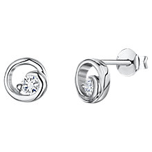 Buy Jools by Jenny Brown Cubic Zirconia Swirl Round Stud Earrings, Silver Online at johnlewis.com