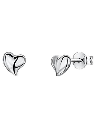 Jools by Jenny Brown Pointed Edge Heart Stud Earrings, Silver