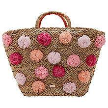 Buy Ted Baker	Barliee Pom Pom Basket Shopper Bag, Natural Online at johnlewis.com