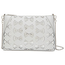 Buy Ted Baker Della Leather Bow Across Body Bag, Silver Online at johnlewis.com