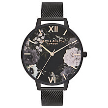 Buy Olivia Burton OB16AD21 After Dark Mesh Strap Floral Watch, Black/Multi Online at johnlewis.com