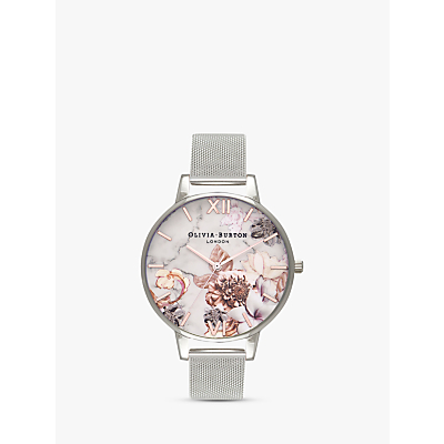 Olivia Burton OB16CS10 Women's Cut And Sew Floral Bracelet Strap Watch, Silver/Multi