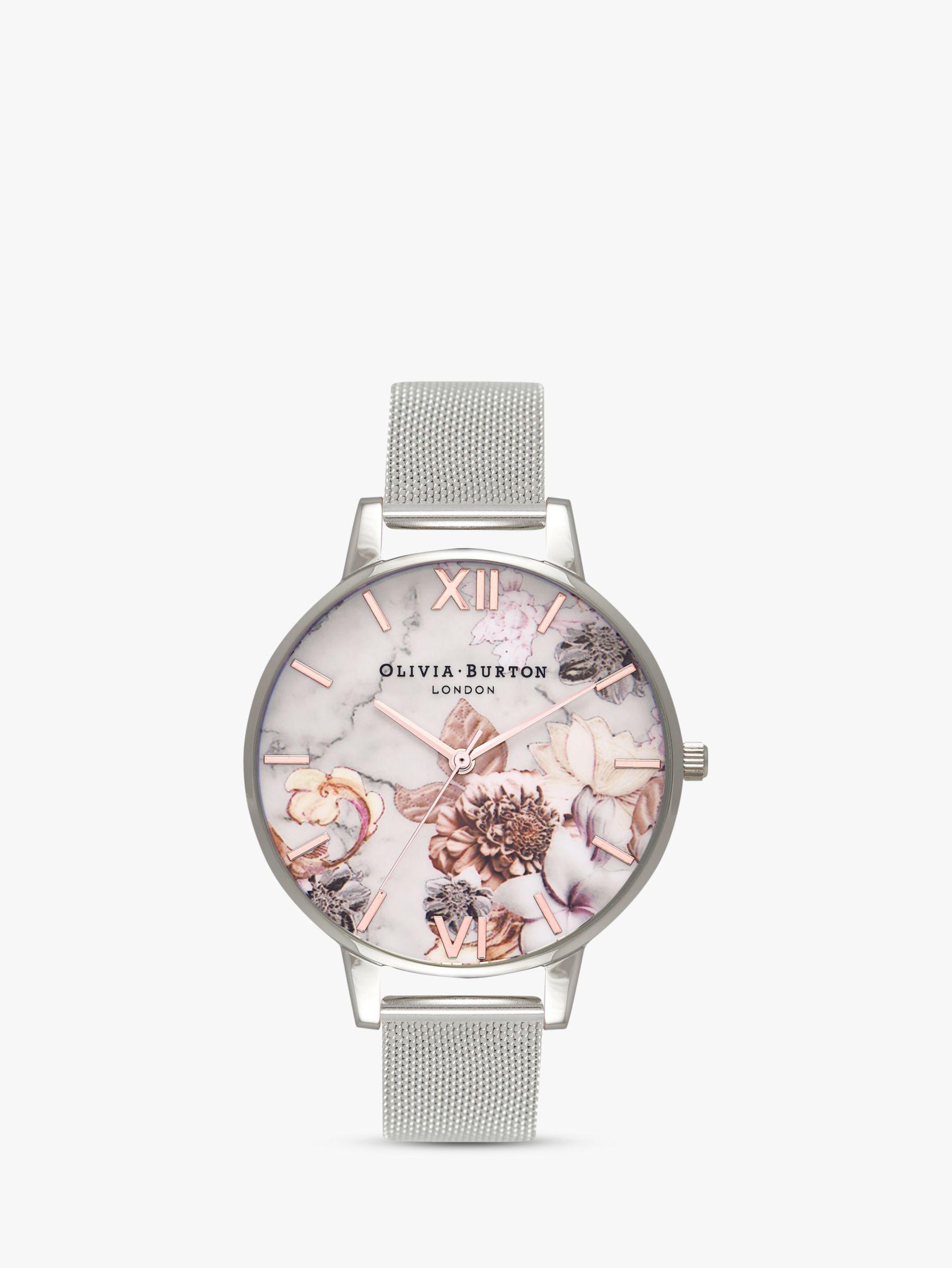 BuyOlivia Burton OB16CS10 Women's Cut And Sew Floral Bracelet Strap Watch, Silver/Multi Online at johnlewis.com