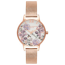 Buy Olivia Burton OB16EX90 Women's Signature Florals Mesh Bracelet Strap Watch, Rose Gold/White Online at johnlewis.com