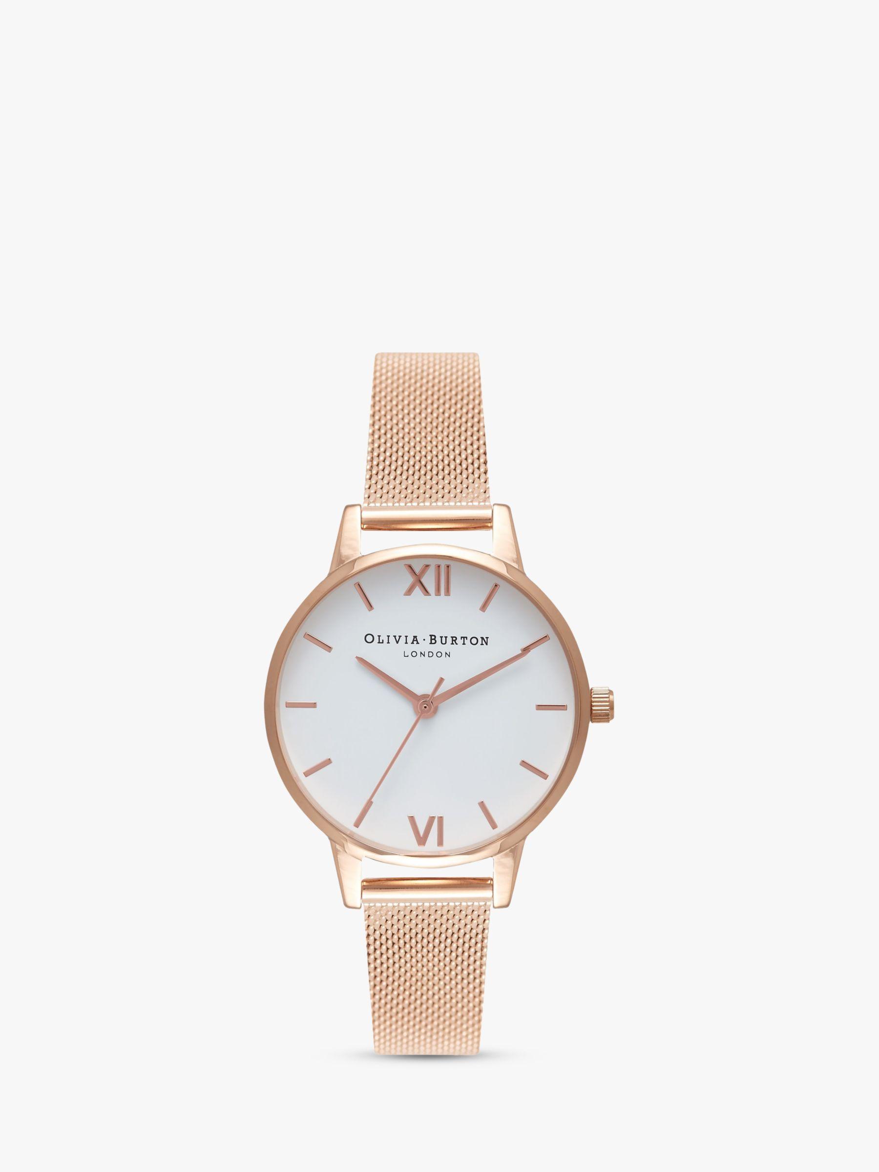 Olivia Burton Olivia Burton Women's White Dial Mesh Bracelet Strap Watch, Rose Gold/White OB16MDW01