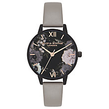 Buy Olivia Burton OB16AD24 Women's After Dark Leather Strap Watch, Grey/Black Online at johnlewis.com