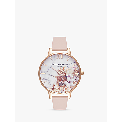 Olivia Burton OB16CS12 Women's Cut And Sew Floral Leather Strap Watch, Peach