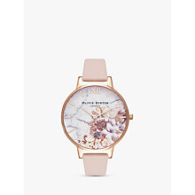 Buy Olivia Burton OB16CS12 Women's Cut And Sew Floral Leather Strap Watch, Peach Online at johnlewis.com
