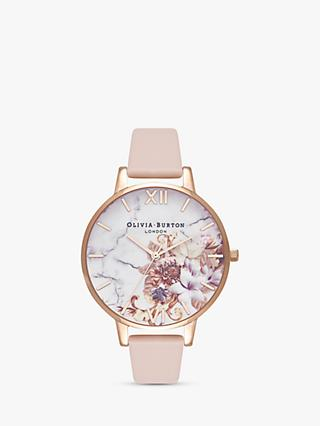 Olivia Burton OB16CS12 Women's Cut And Sew Floral Leather Strap Watch, Peach/Multi
