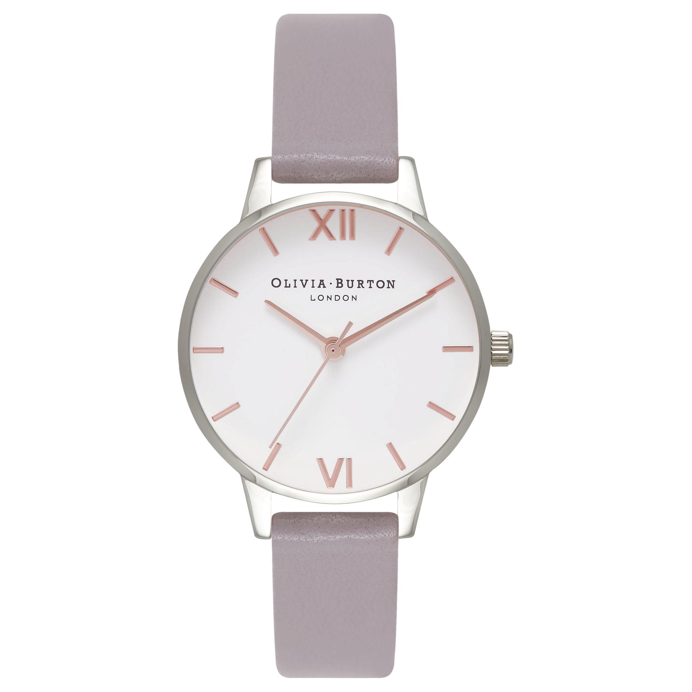 Olivia Burton Olivia Burton OB16MDW26 Women's Leather Strap Watch, Iced Lilac/Silver
