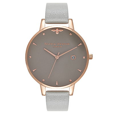 Olivia Burton OB16AM87 Women's Queen Bee Date Leather Strap Watch, Grey