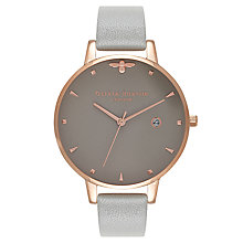 Buy Olivia Burton OB16AM87 Women's Queen Bee Date Leather Strap Watch, Grey Online at johnlewis.com