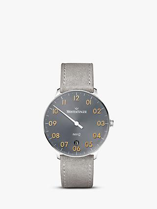 MeisterSinger NQ907GN Women's Neo Q Date Leather Strap Watch, Silver/Grey