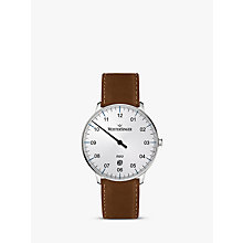 Buy MeisterSinger NE401-SCF03 Unisex Neo Date Automatic Leather Strap Watch, Cognac/White Online at johnlewis.com