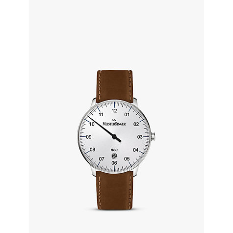 automatic or self winding men s watches john lewis buy meistersinger ne401 scf03 unisex neo date automatic leather strap watch cognac white